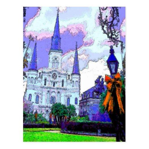 Cuadrado de New Orleans Jackson en el navidad Tarjetas Postales