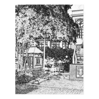 Cuadrado de pequeña ciudad blanco y negro tarjeta postal