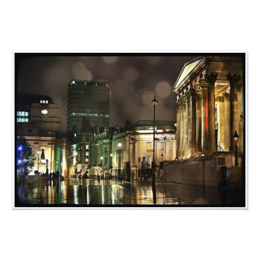 Cuadrado de Trafalgar lluvioso Arte Fotográfico