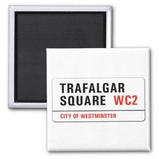 Cuadrado de Trafalgar, placa de calle de Londres Imán Cuadrado
