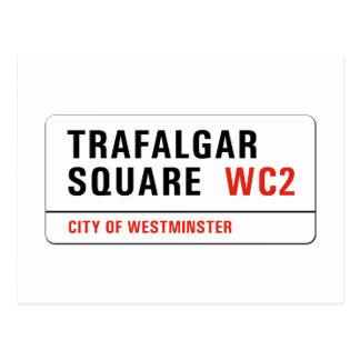 Cuadrado de Trafalgar, placa de calle de Londres Postales