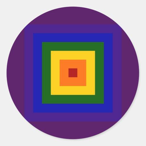 Cuadrado del arco iris etiqueta redonda