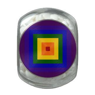 Cuadrado del arco iris frascos de cristal