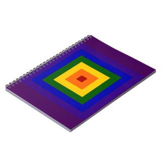 Cuadrado del arco iris libros de apuntes con espiral