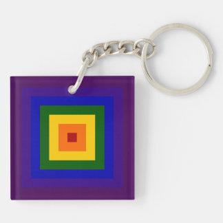 Cuadrado del arco iris llavero cuadrado acrílico a doble cara