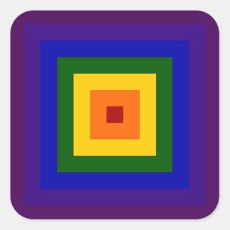 Cuadrado del arco iris pegatina cuadrada