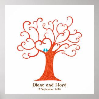 Cuadrado del boda del árbol de la huella dactilar  posters