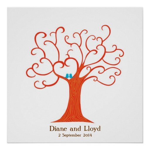 Cuadrado del boda del árbol de la huella dactilar póster