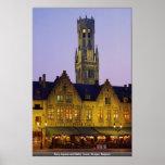 Cuadrado del Burg y torre del campanario, Brujas,  Posters