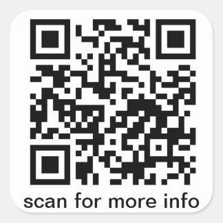 Cuadrado del código de QR pequeño Pegatina Cuadrada