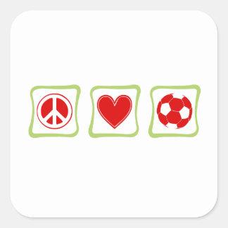 Cuadrado del fútbol del amor de la paz pegatina cuadrada