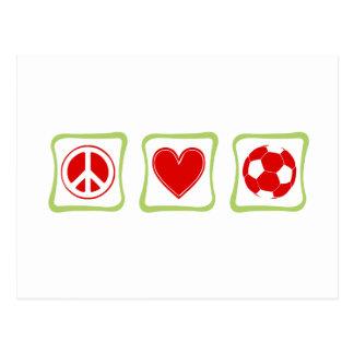 Cuadrado del fútbol del amor de la paz postal