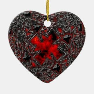Cuadrado del gótico: Rubí viejo Adorno De Cerámica En Forma De Corazón