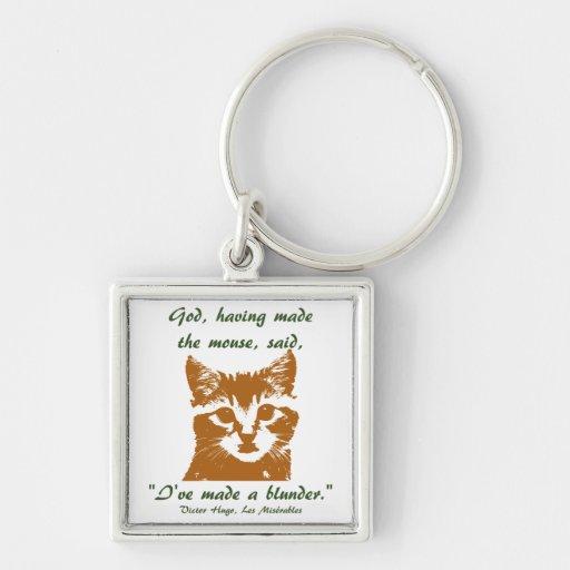 Cuadrado del llavero: El gato Llavero Cuadrado Plateado