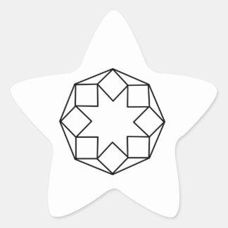 Cuadrado del octágono pegatina en forma de estrella