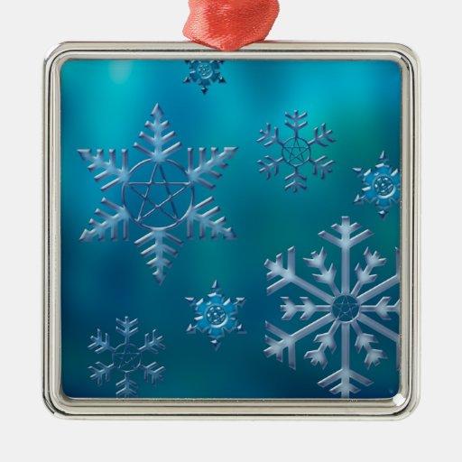 Cuadrado del ornamento del copo de nieve del adorno navideño cuadrado de metal
