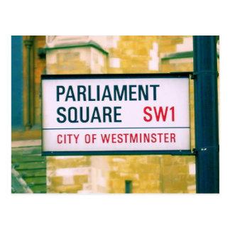 Cuadrado del parlamento - placa de calle de tarjeta postal