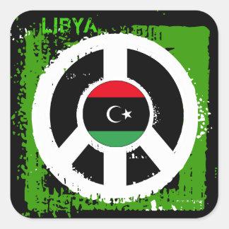Cuadrado del pegatina de la paz de Libia