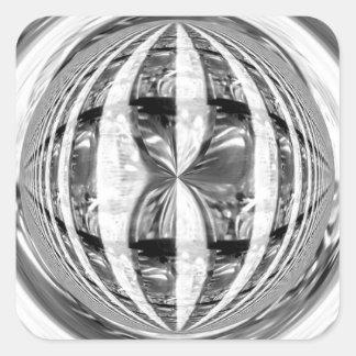 Cuadrado del pegatina del cromo del orbe