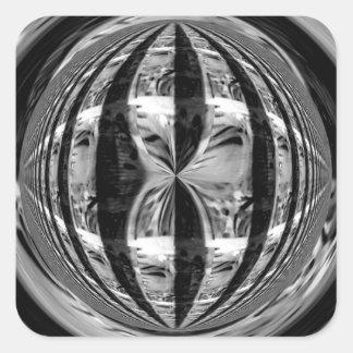 Cuadrado del pegatina del negro del cromo del orbe