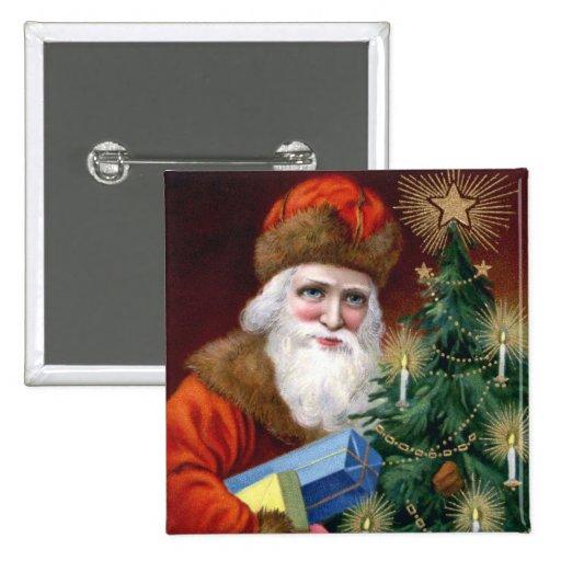 Cuadrado del Pin del botón del navidad de Papá