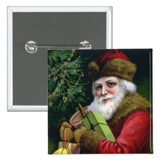 Cuadrado del Pin del botón del navidad de Papá Noe