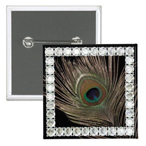 Cuadrado del pluma-diamante del pavo real pins