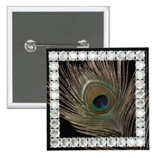 Cuadrado del pluma-diamante del pavo real pin cuadrado
