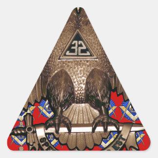 Cuadrado del rito y rojo escoceses del compás pegatina triangular