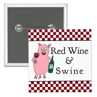 Cuadrado del vino rojo y de los cerdos pin cuadrada 5 cm