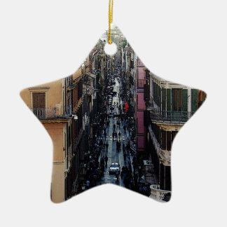 Cuadrado español adorno navideño de cerámica en forma de estrella