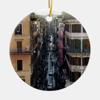 Cuadrado español adorno navideño redondo de cerámica