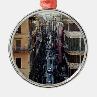 Cuadrado español adorno navideño redondo de metal