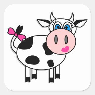 Cuadrado feliz de la vaca del chica calcomanías cuadradass personalizadas
