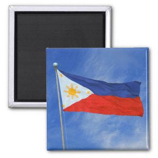 Cuadrado filipino de la bandera imán cuadrado