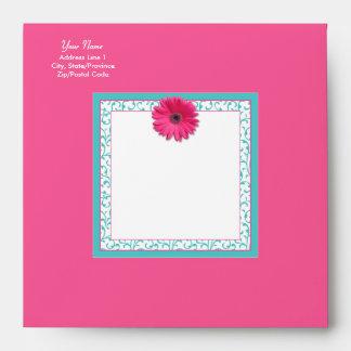 Cuadrado floral del Gerbera de la turquesa rosada Sobre