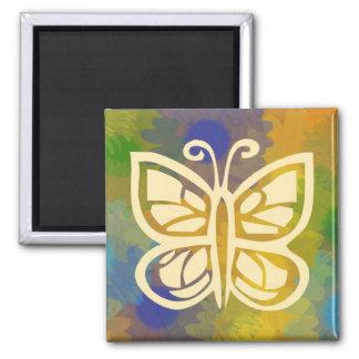 Cuadrado floral del imán de la mariposa