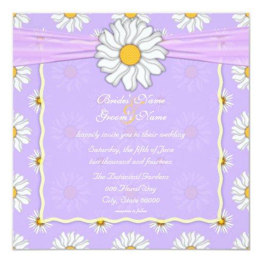 """Cuadrado floral pálido de la margarita púrpura y invitación 5.25"""" x 5.25"""""""