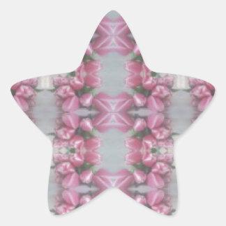 Cuadrado gris rosado de la cruz del modelo del pegatina en forma de estrella