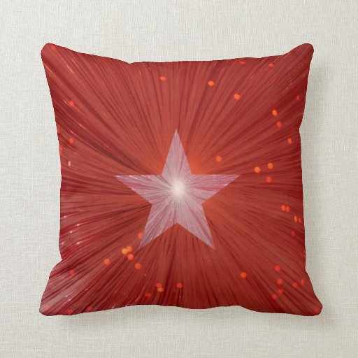 Cuadrado impreso estrella roja de la almohada de t