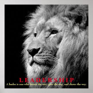 Cuadrado inspirado negro y blanco del león de la póster