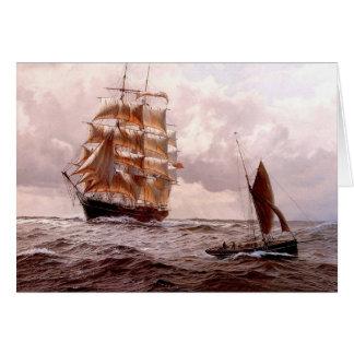 Cuadrado-instalador y barco tradicional en el mar tarjeta de felicitación