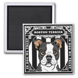 Cuadrado lindo del imán de Boston Terrier