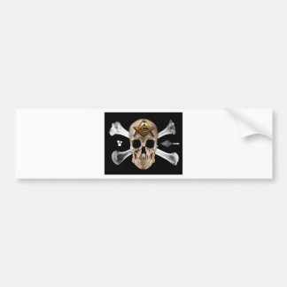 Cuadrado masónico del cráneo y del compás de los h etiqueta de parachoque