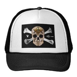 Cuadrado masónico del cráneo y del compás de los h gorra