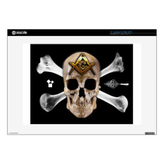 Cuadrado masónico del cráneo y del compás de los h skins para portátil