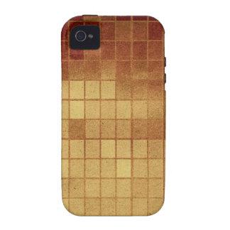 CUADRADO MEXICANO de las TEJAS de BROWN del ORO DE iPhone 4/4S Carcasas