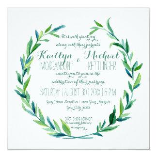 Cuadrado moderno de la rama verde oliva de la hoja invitación 13,3 cm x 13,3cm
