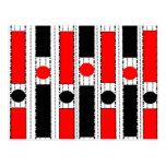 Cuadrado moderno en negro y rojo postal