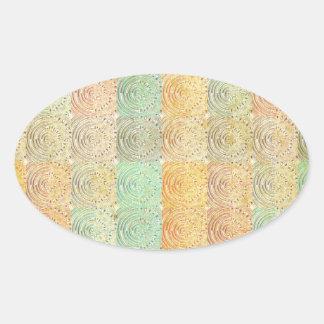 Cuadrado multicolor del vintage. Modelo geométrico Pegatinas Oval Personalizadas